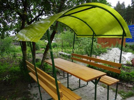 Беседка из поликарбоната - размер 2,5х3 м, цена 25000 руб.